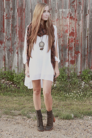 olive green Jeffrey Campbell boots - white Choies dress