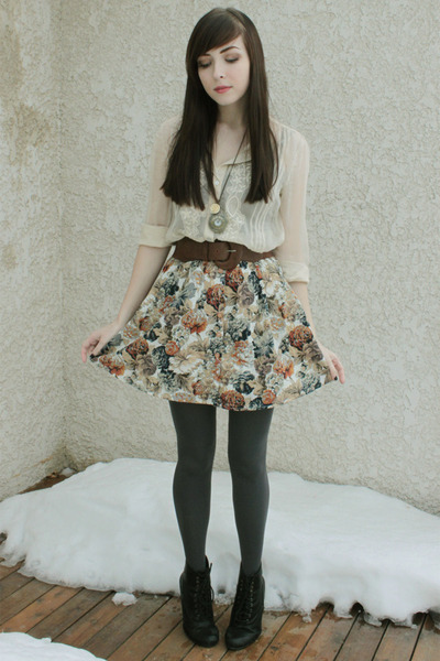 black Spring boots - cream Forever 21 blouse - dark brown Urban Outfitters belt