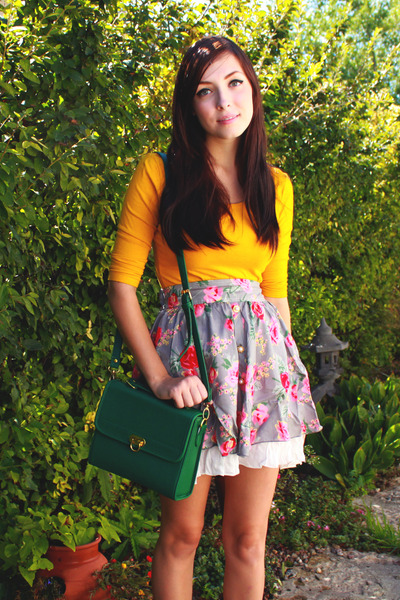 heather gray ClubCouture skirt - green romwe bag