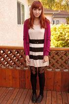 pink joe fresh style cardigan - black joe fresh style belt - black H&M tights -