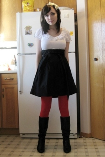 Dynamite blouse - Dynamite skirt - American Apparel tights - Aldo boots - foreve