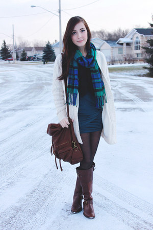 dark brown Aldo boots - dark brown romwe bag - teal LuLus skirt
