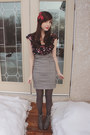 Gray-forever-21-boots-red-sirens-dress-heather-gray-urban-behavior-skirt