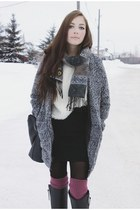 charcoal gray 6ks jacket - ivory yubsshop sweater - black romwe bag