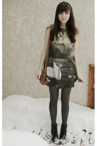 black Aldo boots - dark gray el studio london dress - brown Forever 21 bag