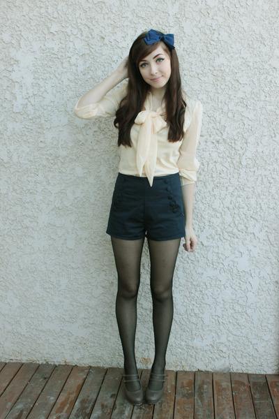 navy wwwromwecom romwe shorts - cream blouse - dark khaki Forever 21 heels