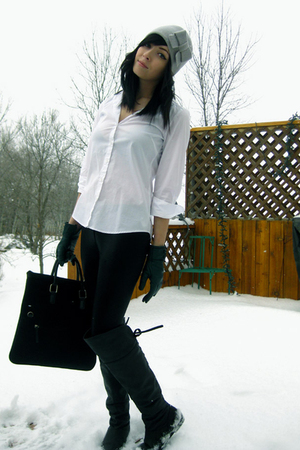 black joe fresh style purse - black Aldo boots - green sears gloves - gray le ch