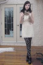 black Aldo shoes - white urban behavior dress