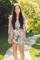 periwinkle Flattery skirt - light pink LuLus cardigan