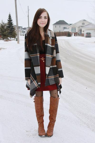 brick red miss patina skirt - bronze Nectar boots - brown Chicwish jacket