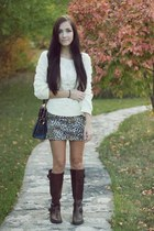 ivory asian icandy sweater - dark brown Aldo boots - navy asian icandy bag