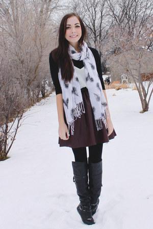 white Happy Scarf scarf - magenta romwe skirt - black romwe top