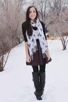 white Happy Scarf scarf - magenta romwe skirt - black romwe top