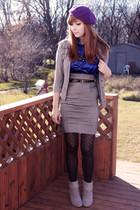 gray Costa Blanca skirt - gray Spring boots - gray joe fresh style cardigan - bl