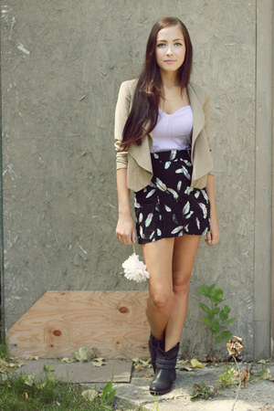 black garage skirt - black Spring boots - camel LuLus blazer