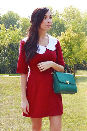 teal Chicwish bag - maroon ClubCouture dress - white romwe accessories