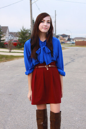 crimson miss patina skirt - blue Value Village blouse