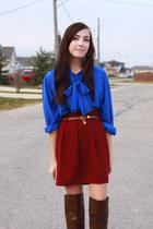 crimson miss patina skirt - blue Value Village blouse