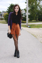 burnt orange romwe shorts - deep purple H&M sweater - black ClubCouture blouse