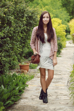 white romwe dress - black Spring boots - light pink LuLus cardigan