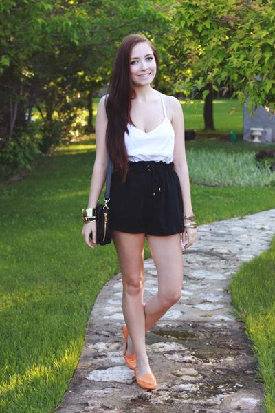black 2fb bag - black romwe shorts - orange 2fb loafers