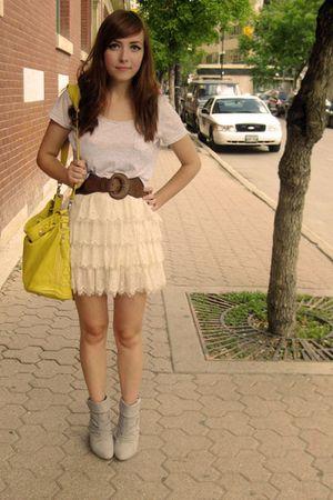 yellow Aldo bag - gray Aldo shoes - white Forever 21 skirt