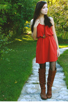 brown nectar clothing boots - burnt orange nectar clothing dress