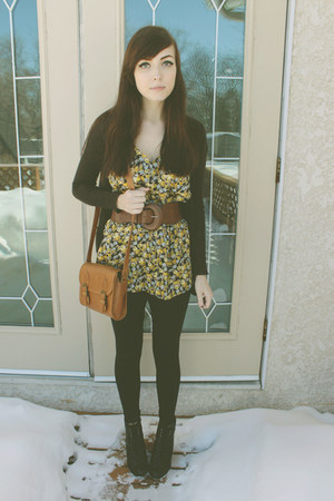 black Spring boots - black urban behavior tights - brown Forever 21 bag - yellow