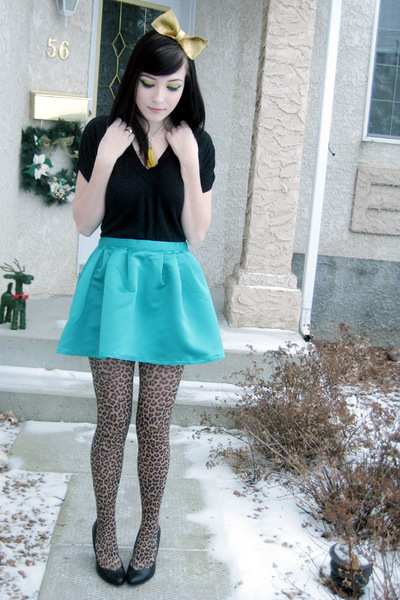 blue Walmart skirt - brown le chateau leggings - black Dynamite shirt