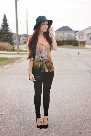 light orange Choies blouse - teal Forever 21 hat