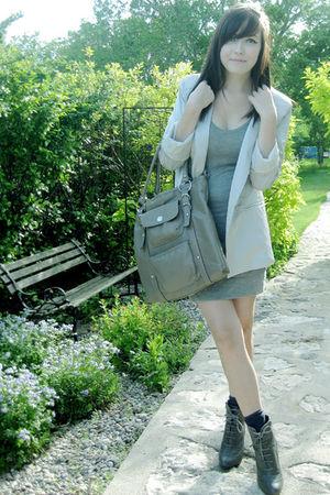 gray Forever 21 boots - silver Costa Blanca blazer - gray Costa Blanca dress - g