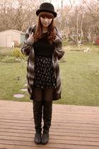 black Forever 21 hat - black Forever 21 skirt - black Aldo boots - black joe fre