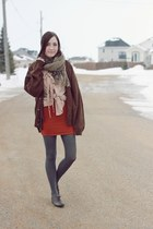 burnt orange windsor skirt - dark brown thrifted sweater - le bunny bleu loafers