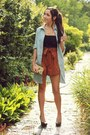 Burnt-orange-romwe-shorts-light-blue-romwe-cardigan