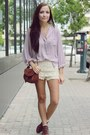 Cream-chicwish-shorts-light-purple-chicwish-top
