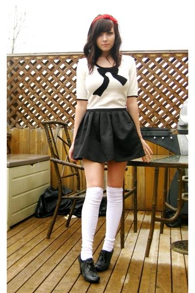 white rickis shirt - black aldos shoes - black Forever 21 skirt