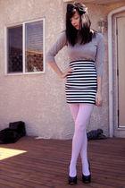 black Sirens skirt - pink wwwwelovecolorscom tights - gray Joe Fresh top - black