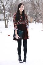 crimson Chicwish skirt - teal Khlees bag