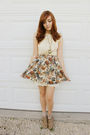 Brown-aldo-shoes-orange-forever-21-skirt-white-urban-behavior-dress