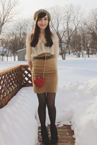 camel urban behavior skirt - black Spring boots - ruby red Costa Blanca bag