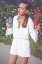 tan H&M necklace - tan Accessorize necklace - blue Zara heels