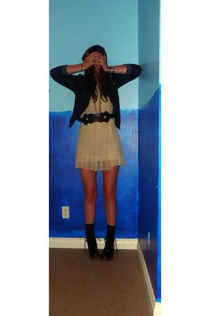 Forever 21 dress - Forever 21 jacket - Forever 21 belt - go jane boots