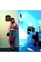 pink H&M shirt - blue H&M shorts - brown shoes