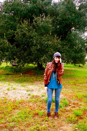 brown jacket - blue Forever 21 shirt - brown boots