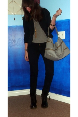 Old Navy blazer - justusa jeans - purse - go jane boots