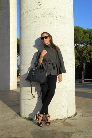 black DKNY bag - gray amy gee cape - black Zara pants - black Aldo heels