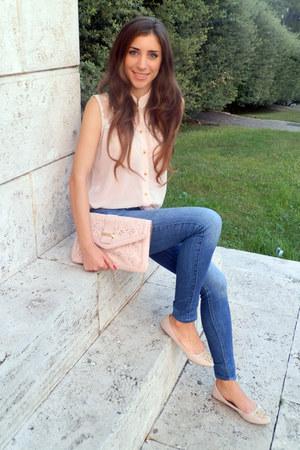 light pink Pazza Venezia top - hollister jeans - light pink Aldo bag