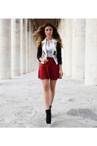 ruby red Forever 21 skirt - black Aldo boots - white H&M blazer