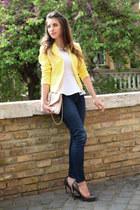yellow H&M blazer - pink Aldo bag - heather gray Aldo heels