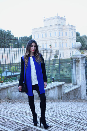 blue coat - white Forever 21 sweater - black Zara pants - black Aldo heels